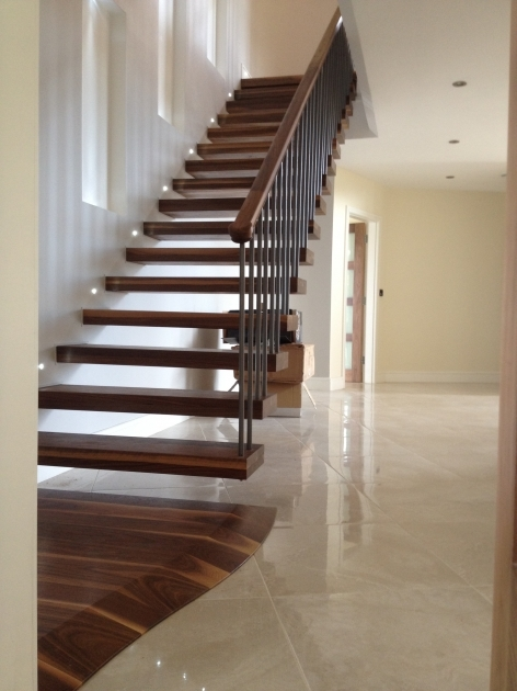Floating Stairs Construction Dark Brown Wooden Floating Stairs With Woods Handle Rails Pic 41