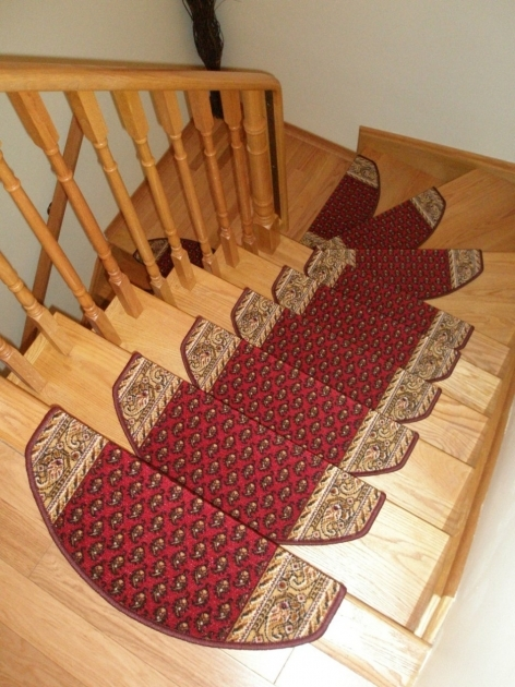 Oak Stair Treads Prefinished Design With Wooden Railing Combine With Red Motif Tread Mats Image 60
