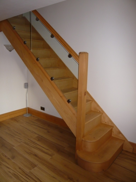 Oak Staircases With Glass Balustrade And Pine Split Landing Pic 57