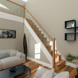 Oak Staircases with Glass Balustrade
