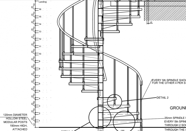 Spiral Staircase Measurements Detail Drawings Autocad Pics 02