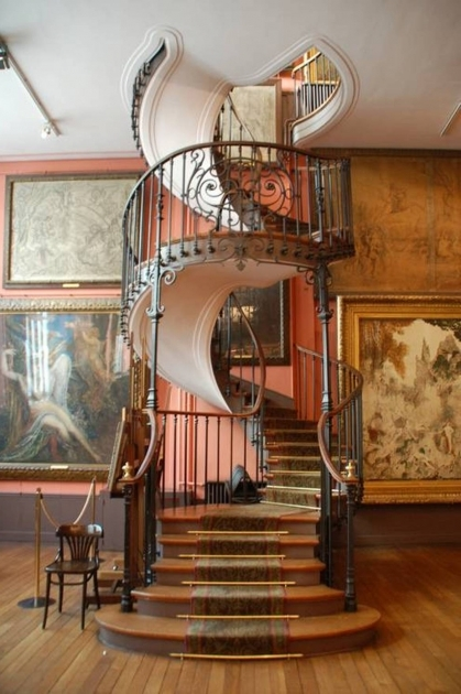 Victorian Spiral Staircase Curved Teak Wood With Leaf Plant Pattern Iron Banister Stairs Picture 94