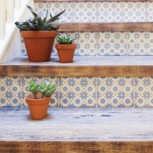 Wood Stair Treads with Tile Risers