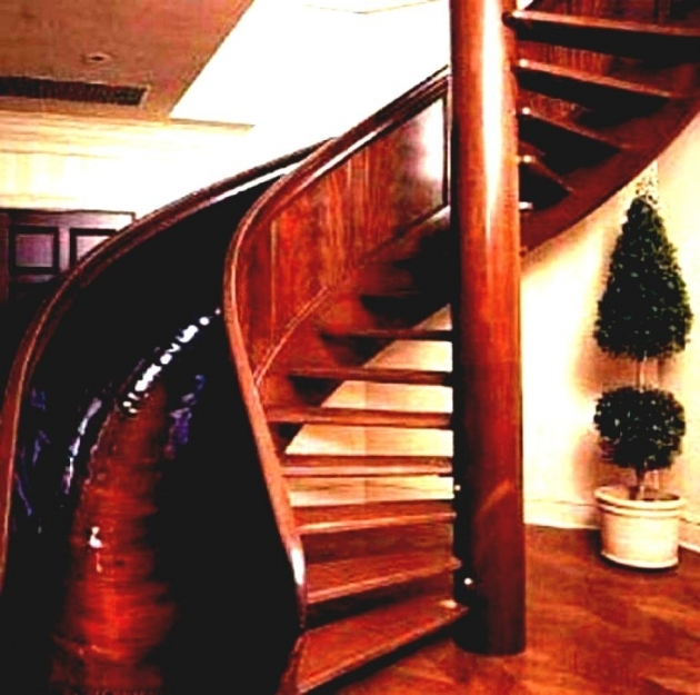 Wooden Staircase With Slide Beautiful Spiral Interior Stair Middle Room Image 52