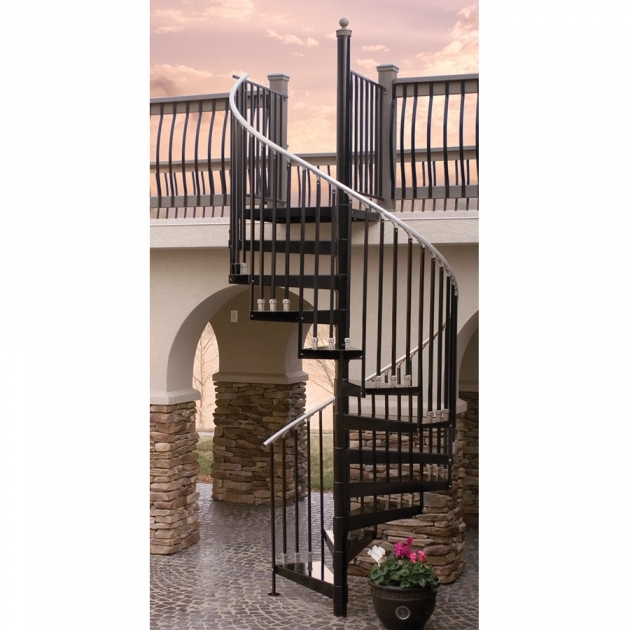 Circular Staircase Exterior Decoration Using Outdoor Black Wrought Iron Spiral Stair Including Black Iron Metal Deck Railing Pics 45