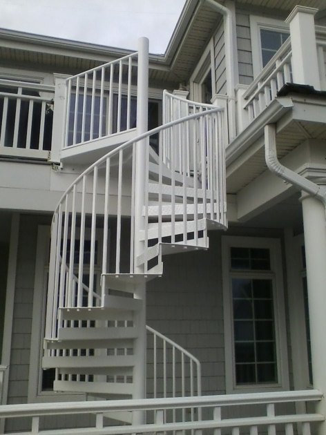Circular Staircase Exterior Decoration Using Outdoor White Wrought Iron Spiral Stair Including White Iron Staircase Spindles Image 80