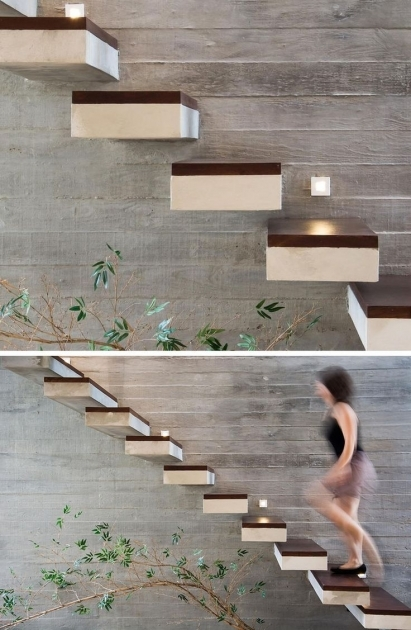 Floating Concrete Stairs Design Home Ideas Images 18