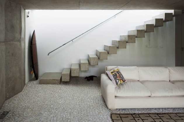 Floating Concrete Stairs For Basement Interior Design Images 02