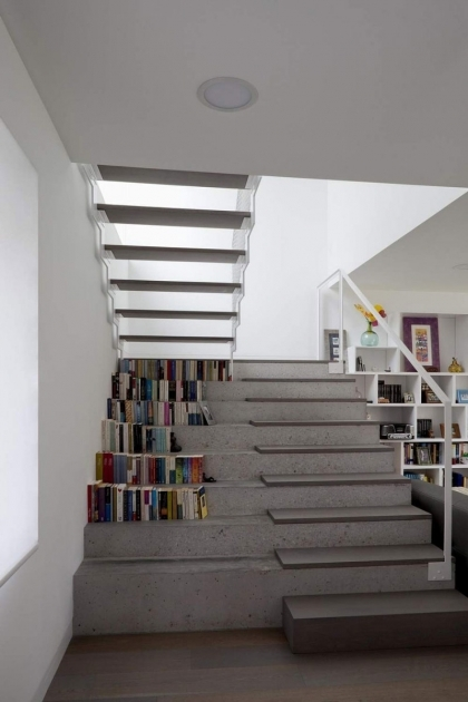 Floating Concrete Stairs Inspiring Concrete Staircase With Concrete Under Stair Bookcase Ideas  Pic 03