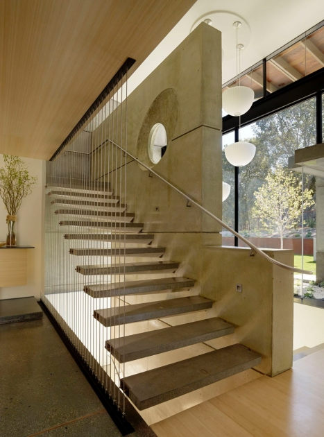 Floating Concrete Stairs Stairway House Design Pics 68