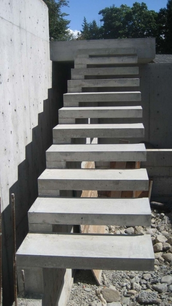 Floating Concrete Stairs Step Designs Outdoor Construction Photo 32