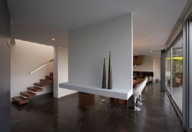 Floating Concrete Stairs White Themed Concrete Home Designs With Wooden Floating Stairs And Two Cute Vases Photos 55