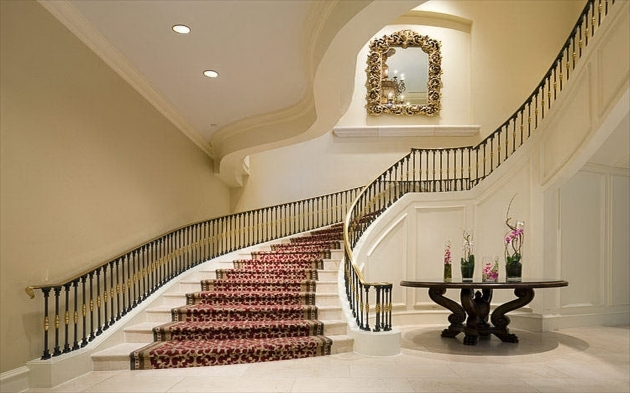 Interior Classy Grand Staircases Design Unique Red Carpet Runner As Modern Staircase With Rail Banister Photo 40