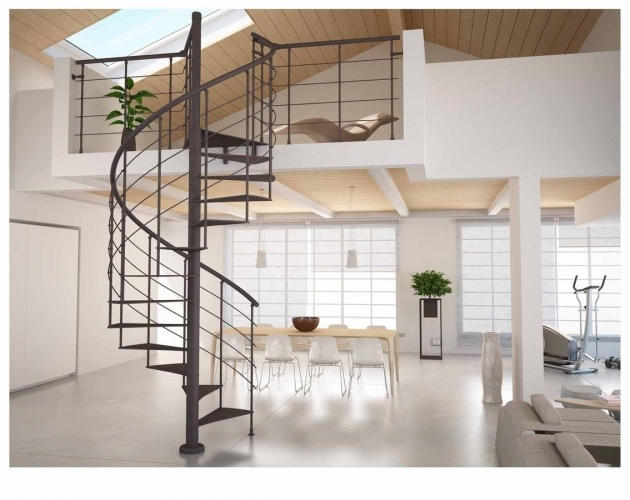 Metal Spiral Staircase Kits Interior Design With Modern Grey Ceramics Images 82