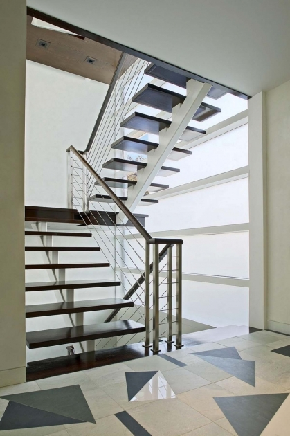 Metal Staircase Design Modern Design Ideas With Dark Varnished Wooden Tread Without Riser Also White Metal Stringer Beam And Stainless Steel Photo 49