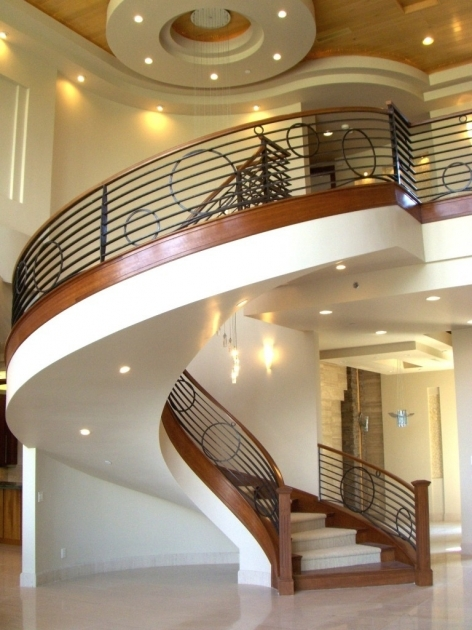 Round Stairs Design For Homes With Brown Wooden Combination Ideas White Granite Tile Staircase Images 09