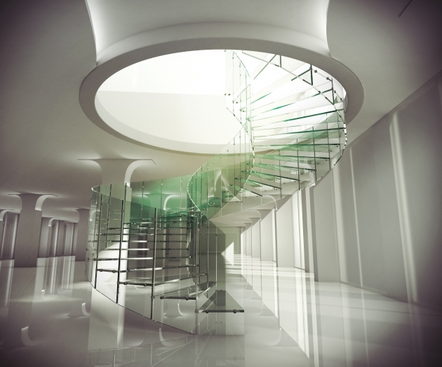 Round Stairs Design Modern Spiral Staircase Concept Offer Constructed Glass Support And Banister Blended Images 24