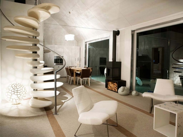 Round Stairs Design Spiral Ideas Modern Staircase White Plastic With A Circular Shape Pictures 59