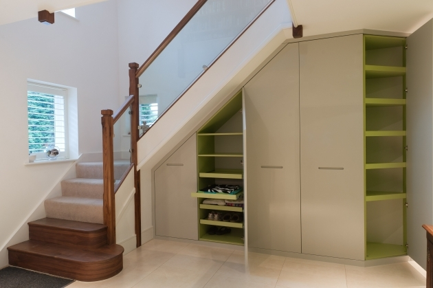 Shelves Under Stairs Cupboard White Brown Wood Cool Design Pic 74