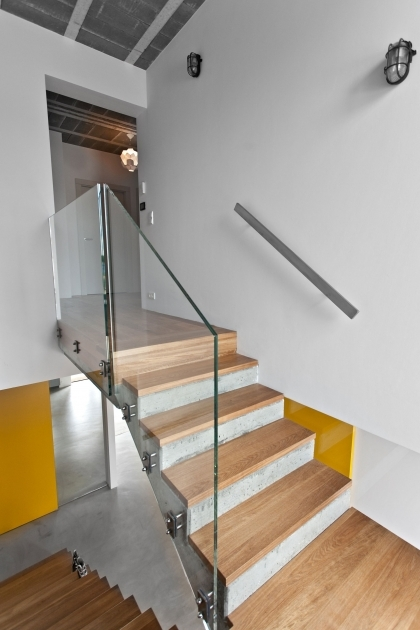 Staircase Glass Railing Designs Concrete Stair With Wooden Steps And Glass Railing Panels Interior House Pic 97