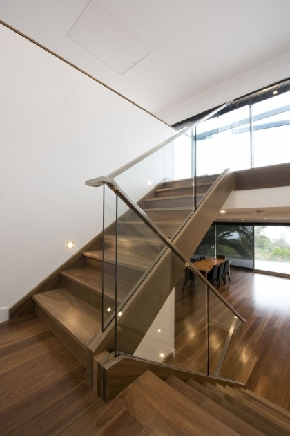 Staircase Glass Railing Designs Ideas With Wooden Step Pic 62