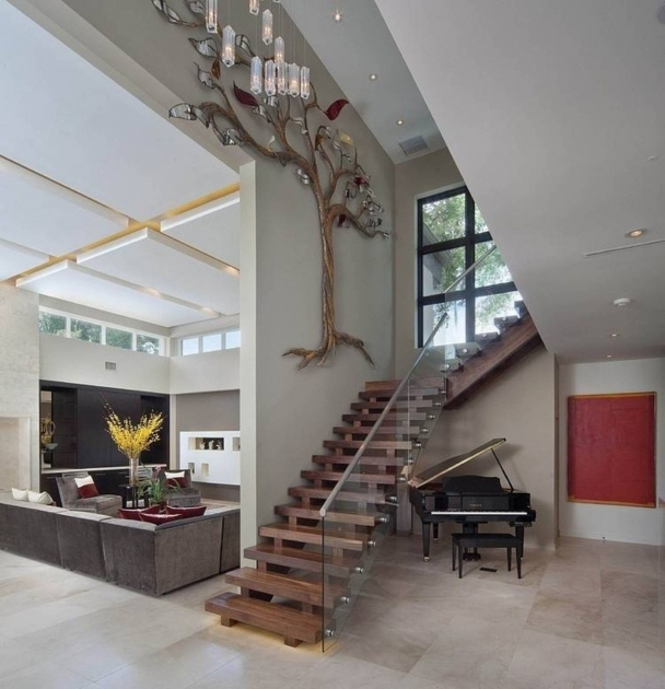 Staircase Glass Railing Designs Modern With Wooden Treads Ideas Top Designers Photo 49