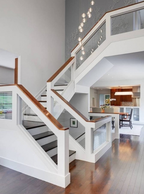 Staircase Glass Railing Designs Wooden Handrail Staircase Ideas Integrated With Glass Decorative Pic 48