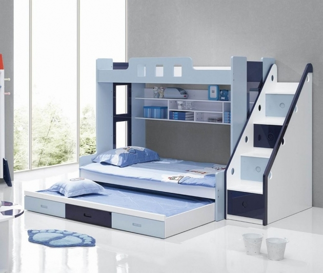 Twin Bunk Beds With Stairs Blue And White Ideas For Small Room Photo 20