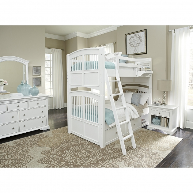 Twin Bunk Beds With Stairs With White Dresser Plus Ikea Nightstand With Table Lamp Also White Marburn Curtains Image 37