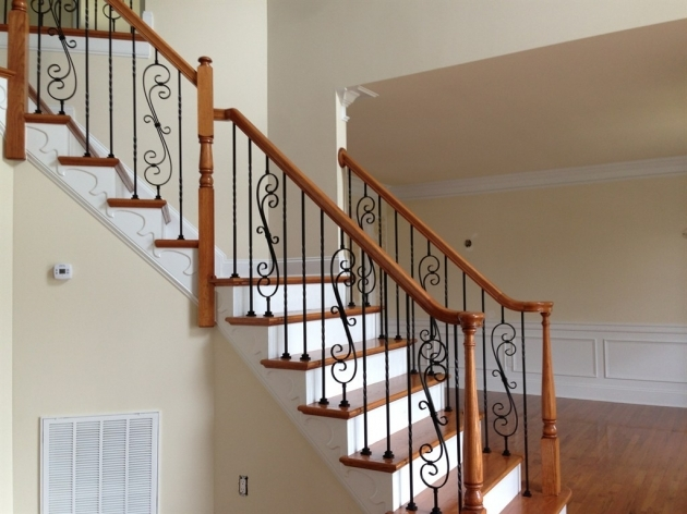 Wrought Iron Stair Railing Interior In Combination Of Wood On Its Edge Pic 13