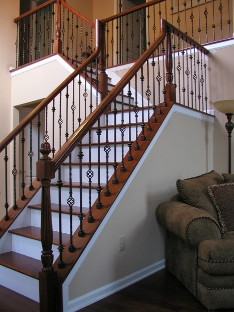 Wrought Iron Stair Railing With Wood Handrail Photo 73