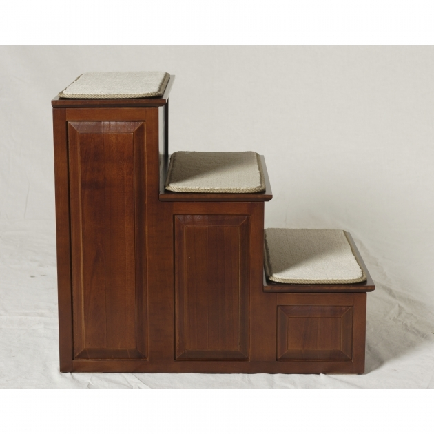 3 Step Pet Stairs For Bed In Cherry Finish  Photo 34