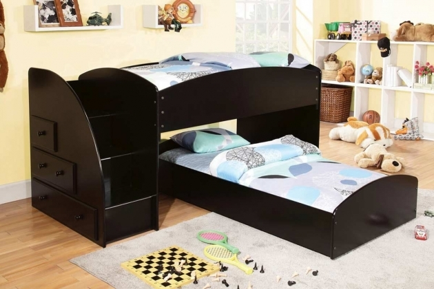 Black Wooden Toddler Bunk Beds With Stairs And Drawers Double Bed Fur Rug And White Shelves Corner Image 40