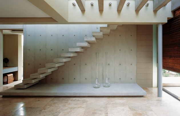 Contemporary White Staircase Without Railings And Shelving Spaces Under Stairs Photo 68