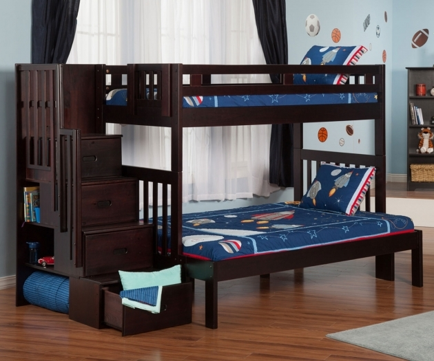 Full Over Queen Bunk Bed With Stairs Step For Kids Bedroom Pictures 18