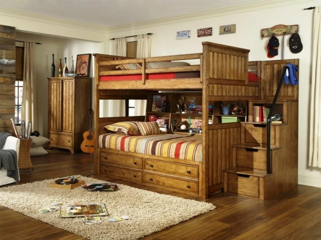 Full Over Queen Bunk Bed With Stairs Wooden Ideas Photos 32