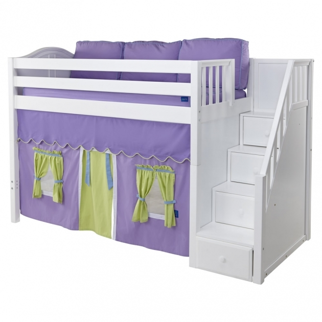 Maxtrix Galant Playhouse Loft Bed With Stairs White With Curve Bed Photos 56