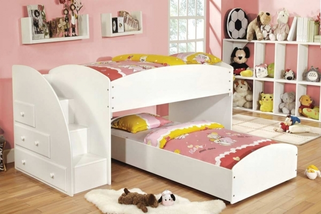 Modern  White Toddler Bunk Beds With Stairs And Dolls Shelves  Images 38