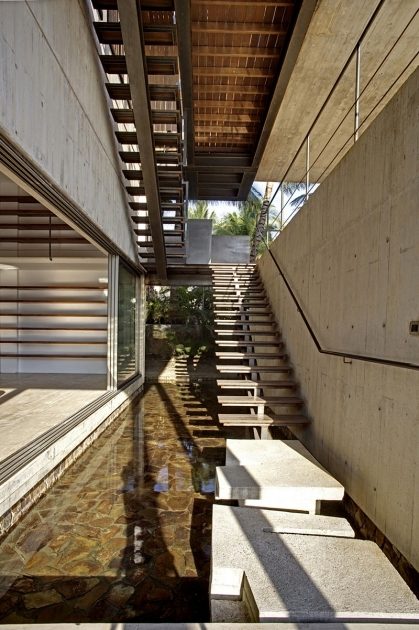 Outdoor Stairs Without Railing With Wooden Floor Tiles And Exposed Concrete Wall Ideas Photo 08
