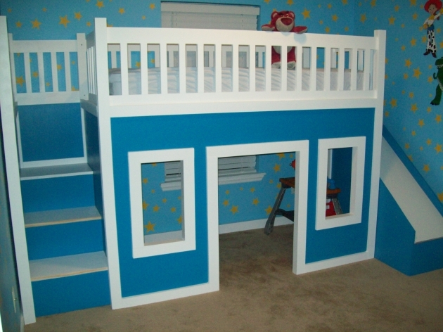 Playhouse Loft Bed With Stairs And Slide With Blue Decor Photos 20