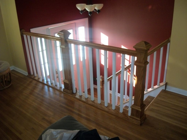 Staircase Railing Remodel Basement Wood Stair Pic 26