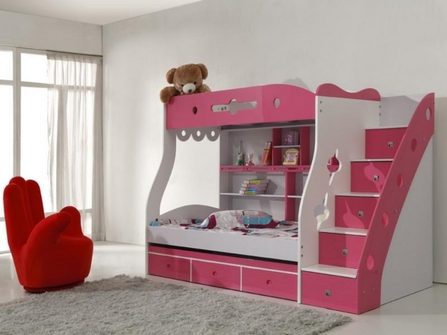 White And Pink Cheap Bunk Beds With Stairs Image 06