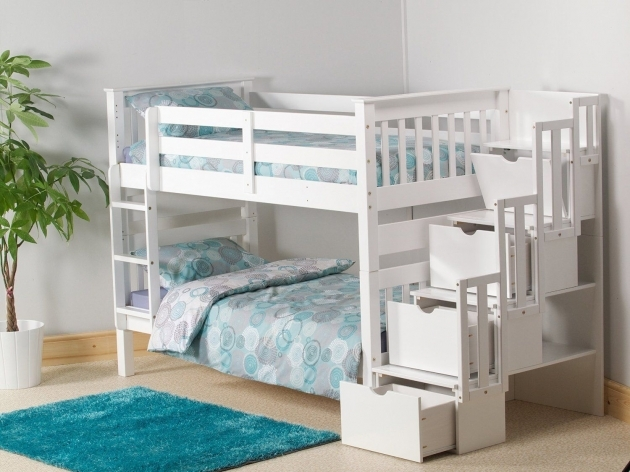 White Cheap Bunk Beds With Stairs And Steps Also Storage With 3 Drawers Waxed Pine Single Staircase Bunk Bed Images 01
