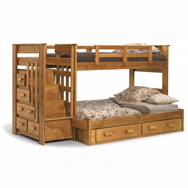 Wooden Full Over Queen Bunk Bed With Stairs Photo 61