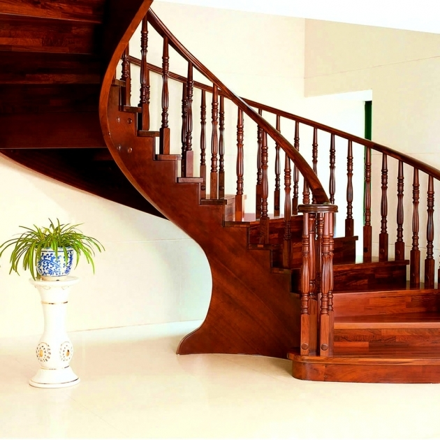 Wooden Stair Handrail  Low Railing Solid Wood Interior Rotation Stair Pole Photo 29