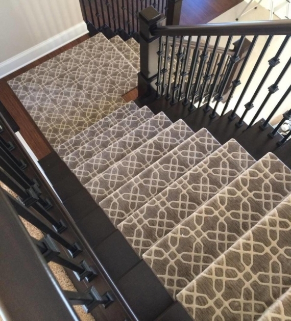Carpeting Stairs With Spindles Using Patterned Grey White Stanton Picture 87
