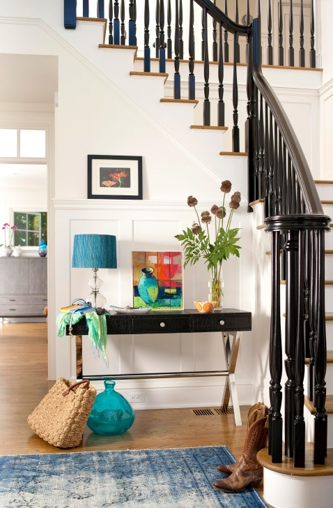 Painting Stair Railing Ideas Glossy Black Painted