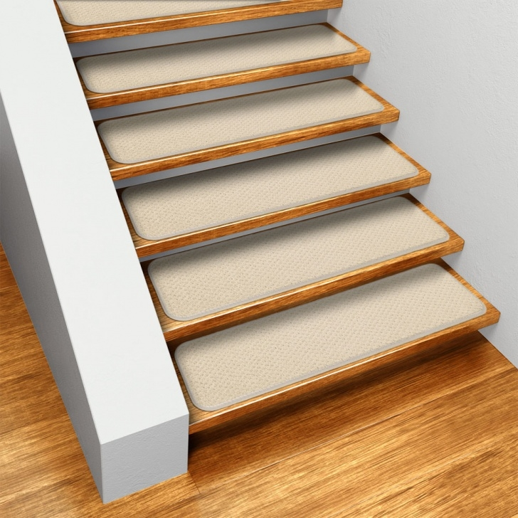 Carpet Strips For Stairs Carpet Strips For Stairs Set Of 15 Skid-Resistant Carpet Stair Treads - Ivory Cream - 8 In. X 23.5  In