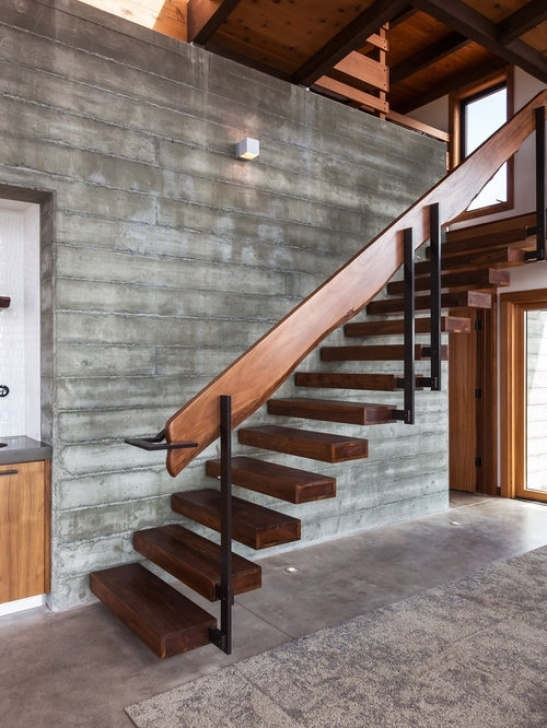 Brackets For Floating Stairs Floating Stair Treads | Houzz Photo 016