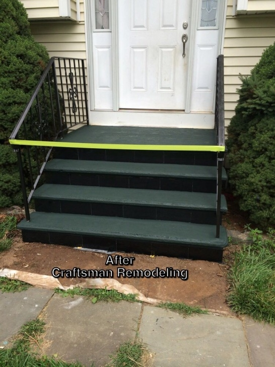 Cement Stairs And Ceramics Added Curb Appeal By Repainting The Old Metal Railings And Photo 483